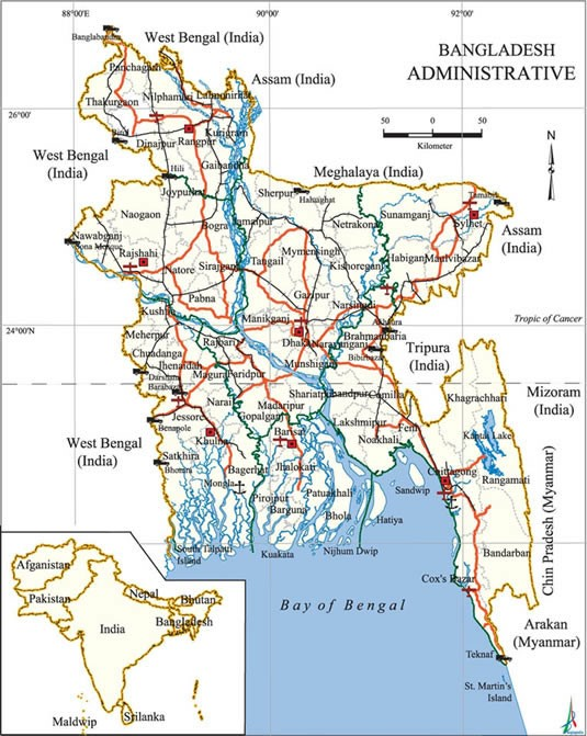 Bangladesh-geographical-map
